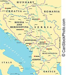 Central Balkan Political Map formed by Bosnia and...