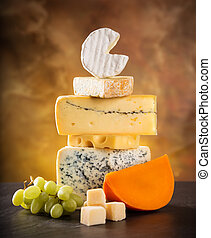 Various types of cheese, still-life