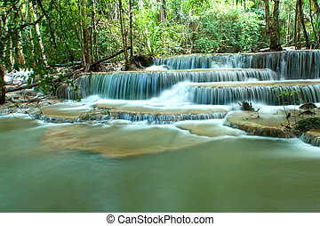 waterfall - Huay Mae Kamin waterfall in Kanjanaburi,...