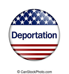 Deportation Button , A white button with red stripes and...