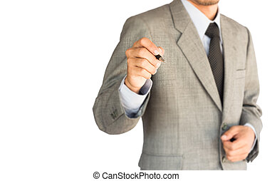 strategy business man drawing on white background