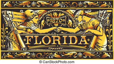 Vintage Florida Label Plaque, Black and Gold - Detailed...