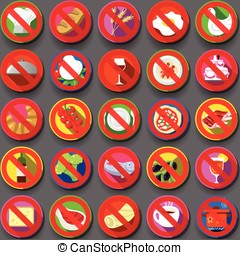 Twenty Five Circular Flat Icon Italian Food Prohibition -...