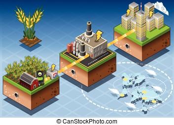 isométrique, Infographic, Biomass, source,...