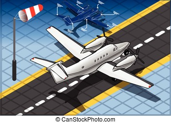 Isometric White Private Plane - Detailed illustration of a...