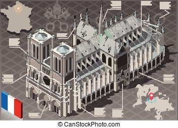 Isometric Infographic Notre Dame de Paris - HD Quality -...