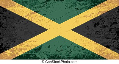 Jamaican flag Grunge background. Vector illustration Eps 8.