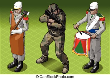 Isometric Foreign Legion Militar People - Detailed...