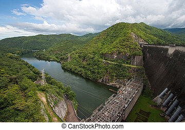 Dam in Thailand. - Bhumibol Dam in Thailand. The power...