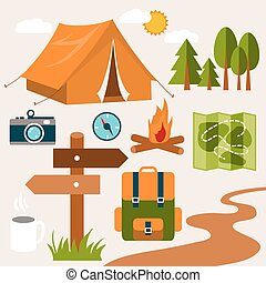 Vacation - Set of camping of adventure Equipment icon set in...