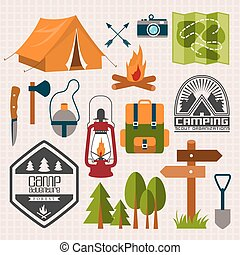 Vacation - Set of camping of adventure. Equipment icon set...