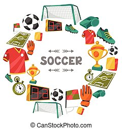 Sports background with soccer football symbols. - Sports...