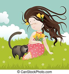 Girl with cat sitting on grass - Cute girl with cat sitting...