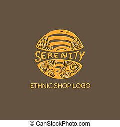 Detailed hand drawn zentangle logo for ethnic shop, yoga...