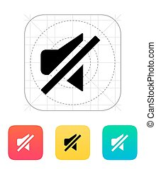 Turn off sound icon. Vector illustration.