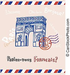 Paris post card - Arc de triomphe in Paris, post card in...