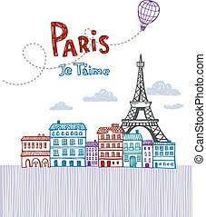 Paris post card - Eiffel tower in Paris, post card in doodle...