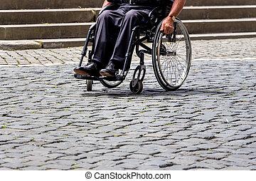 homem, em, Cadeira rodas,