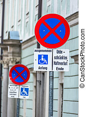 no stopping sign wheelchair symbol of prohibitions, towing,...