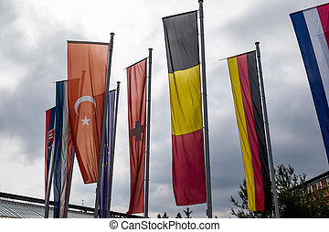 european flag and other flags, symbols for diplomacy and...
