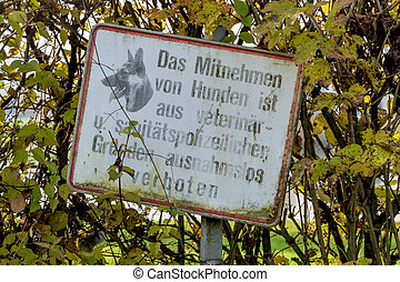 sign hundeverbot zone symbol of prohibitions, epidemic...