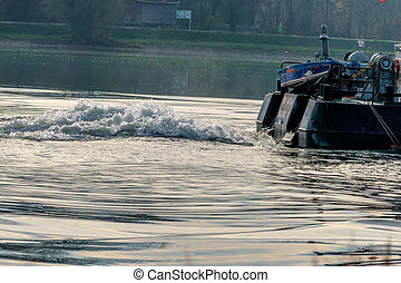 motor boat on a river, a symbol of rescue, navigation, water...