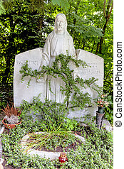 grave stone with figure