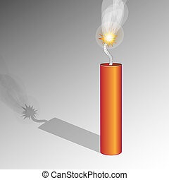 Dynamite - Red dynamite stick with fuse over gray background