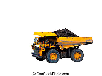 big yellow mining truck on white background