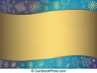 Abstract gold background with snowflakes