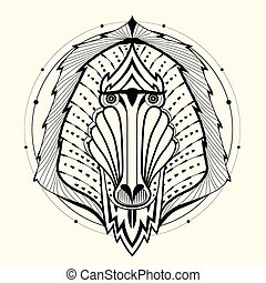 Baboon zentangle design,vector illustration