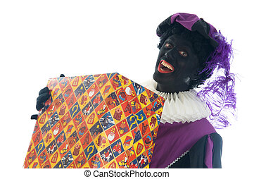 Zwarte Piet with present - Zwarte Piet is a Dutch tradition...
