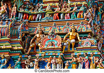 Gopuram (tower) of Hindu temple Kapaleeshwarar., Chennai,...