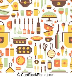 Seamless pattern of kitchen utensils. - Seamless pattern of...