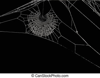 Spider\'s net - White spider\'s net isolated on a black...