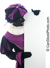 Zwarte Piet looking at a white board, to put your text in. -...