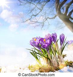 arte, primavera, flores,