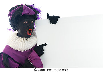 Zwarte Piet looking at a white board, to put your text in -...