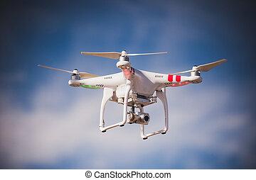 青, カメラ, 飛行,  TH, 無人機