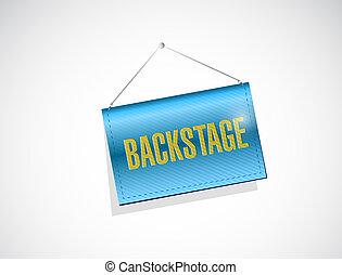 backstage hanging sign illustration design over a white...