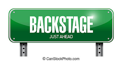 backstage road sign illustration design over a white...