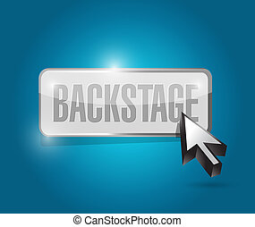 backstage button illustration design over a blue background