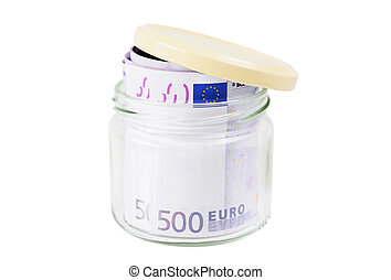 Rolled 500 euro banknotes in a jar isolated over white