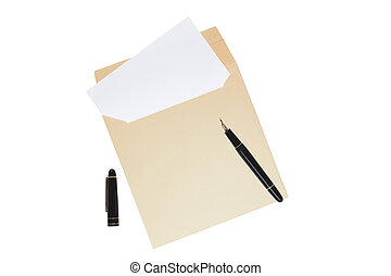 Open envelope with blank letter inside isolated over white...
