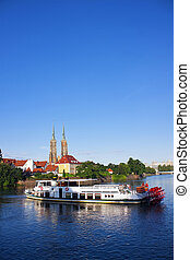 Paddle steamer ship on Odra river in Wroclaw, Poland No...