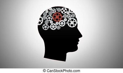 silhouette of a person with gears - silhouette of a person...