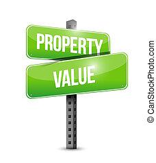 property value road sign illustration design over a white...