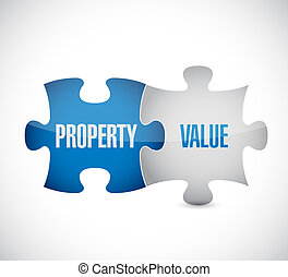 property value puzzle pieces illustration design over a...
