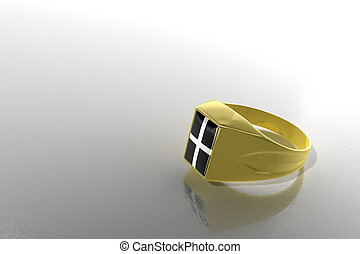 Signet Ring - Golden signet ring with the symbol of Kresty...