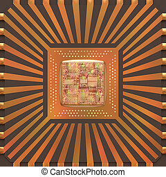 3D Microchip Core - 3D image concept of an expansion of the...
